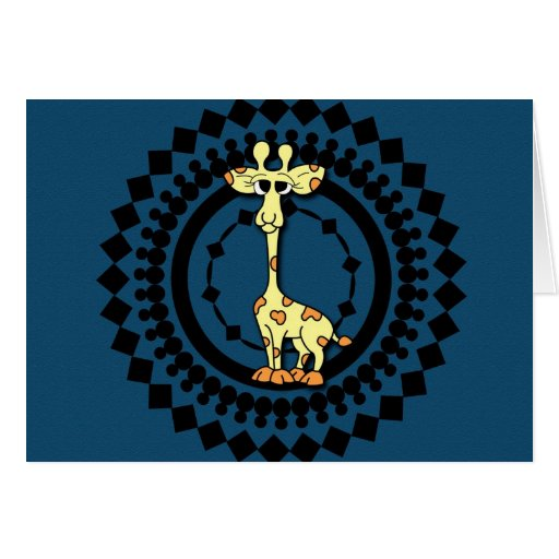 Cartoon Giraffe Birthday Card