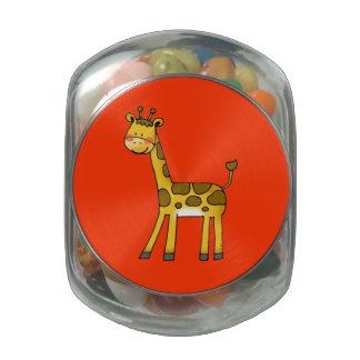 cartoon giraffe glass candy jar