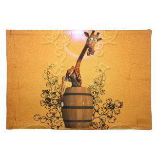 Cartoon giraffe cloth placemat