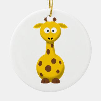 Cartoon Giraffe Double-Sided Ceramic Round Christmas Ornament