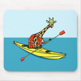 Cartoon Giraffe in a sea kayak Mouse Pad