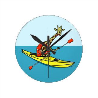 Cartoon Giraffe in a sea kayak Round Clock