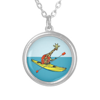 Cartoon Giraffe in a sea kayak Silver Plated Necklace