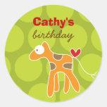 Cartoon Giraffe Kid Custom Favors Label Sticker Round Sticker