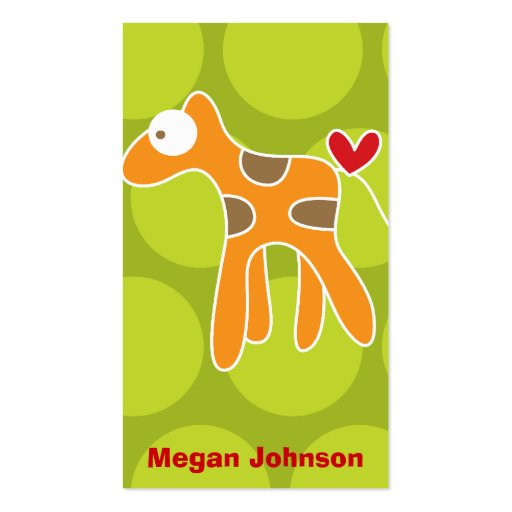 Cartoon Giraffe Kid Fun Custom Photo Profile Card Business Cards