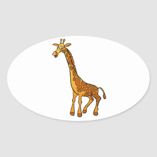 Cartoon Giraffe Oval Sticker