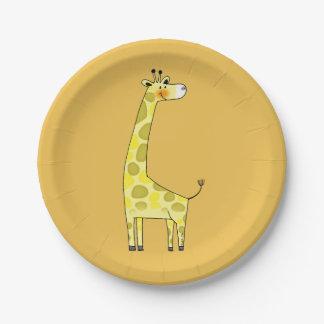 cartoon giraffe paper plate