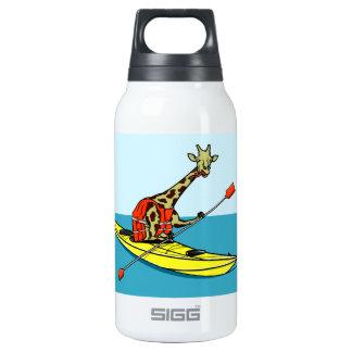 Cartoon giraffe sea kayaking insulated water bottle