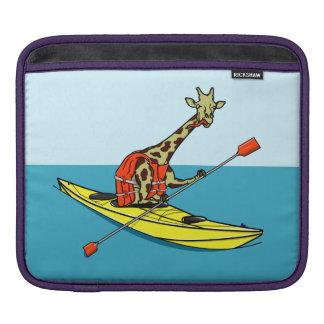 Cartoon giraffe sea kayaking iPad sleeve