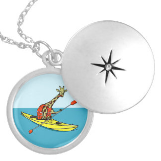 Cartoon giraffe sea kayaking locket necklace
