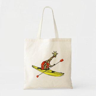 Cartoon giraffe sea kayaking tote bag