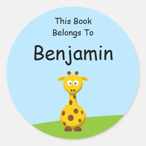 Cartoon Giraffe Round Sticker