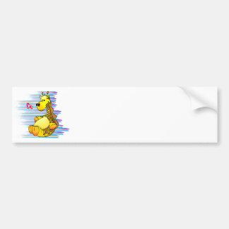 Cartoon Giraffe Stuffed Toy Artistic Bumper Sticker