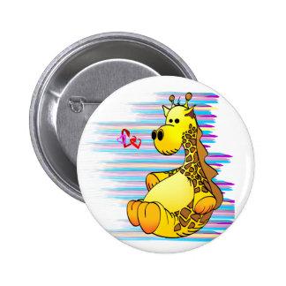 Cartoon Giraffe Stuffed Toy Artistic Button