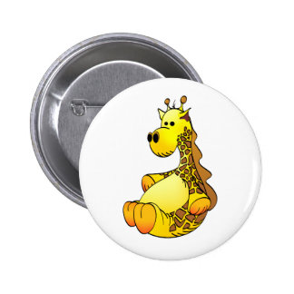 Cartoon Giraffe Stuffed Toy Refined Pinback Button