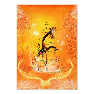 Cartoon giraffe with christmas tree card