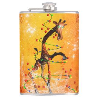 Cartoon giraffe with christmas tree hip flask