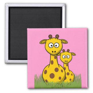 cartoon giraffes 2 inch square magnet