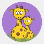 cartoon giraffes classic round sticker
