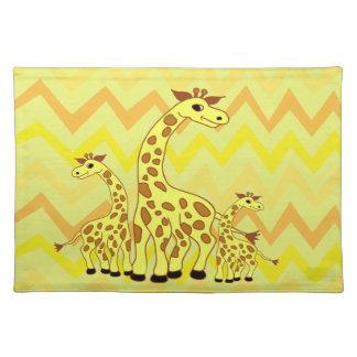 Cartoon giraffes illustration children design cloth placemat