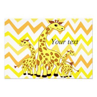 Cartoon giraffes illustration children design photo print