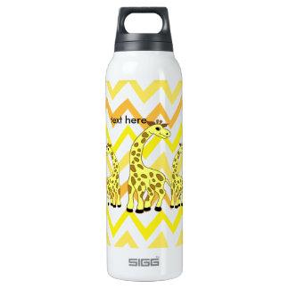 Cartoon giraffes illustration children design thermos water bottle