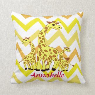 Cartoon giraffes illustration children design throw pillow