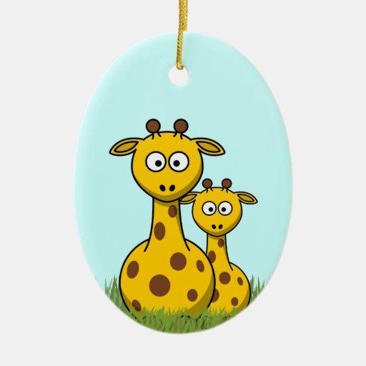 cartoon giraffes Double-Sided oval ceramic christmas ornament
