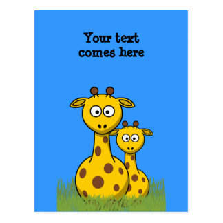 cartoon giraffes postcard