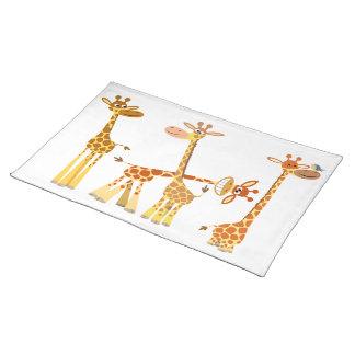 Cartoon Giraffes: The Herd Placemat Cloth Placemat