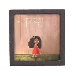 Cartoon girl Afro-textured hair Keepsake Box