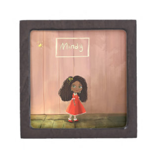 Cartoon girl Afro-textured hair Premium Jewelry Box