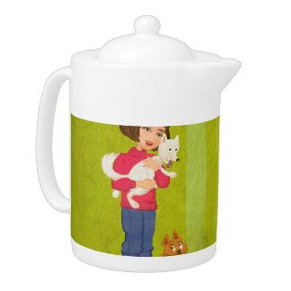 cartoon girl and funny doggy Teapot