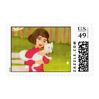 cartoon Girl and funny stamp