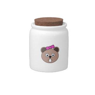 Cartoon Girl Beaver Face Candy Jar