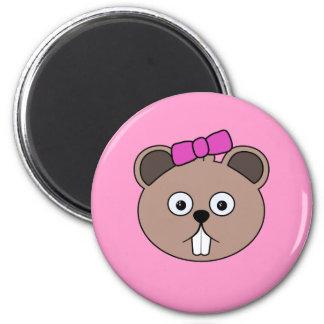 Cartoon Girl Beaver Face Magnet