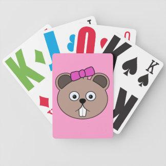 Cartoon Girl Beaver Face Playing Cards