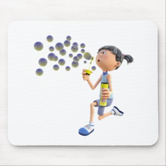 Cartoon Girl Blowing Bubbles Mouse Pad