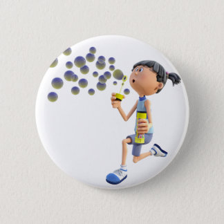 Cartoon Girl Blowing Bubbles Pinback Button