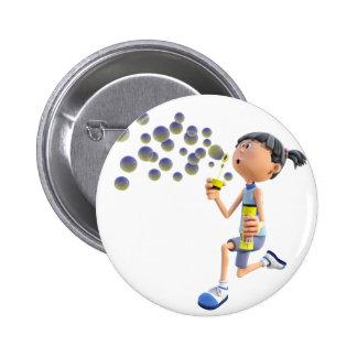 Cartoon Girl Blowing Bubbles Pinback Button