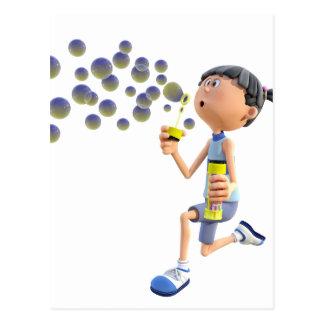 Cartoon Girl Blowing Bubbles Postcard