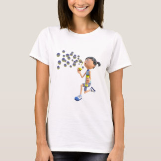 Cartoon Girl Blowing Bubbles T-Shirt