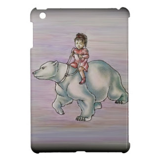 Cartoon Girl Child Riding Polar Bear Drawing Case For The iPad Mini
