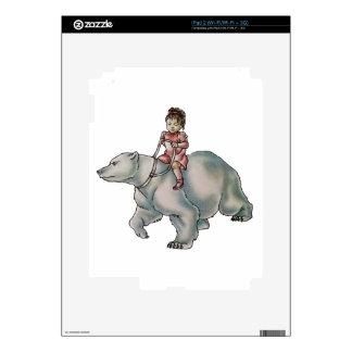 Cartoon Girl Child Riding Polar Bear Drawing Decals For iPad 2