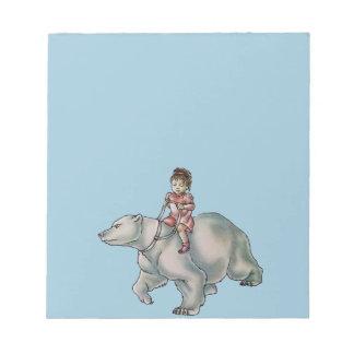 Cartoon Girl Child Riding Polar Bear Drawing Note Pad