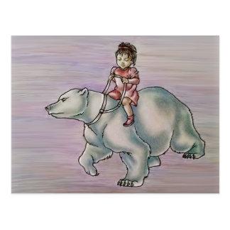Cartoon Girl Child Riding Polar Bear Drawing Postcard