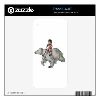 Cartoon Girl Child Riding Polar Bear Drawing Skin For The iPhone 4S