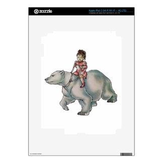 Cartoon Girl Child Riding Polar Bear Drawing Skins For iPad 3