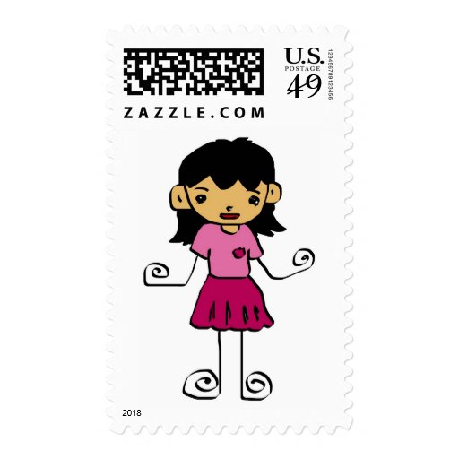 cartoon  girl  collection stamp