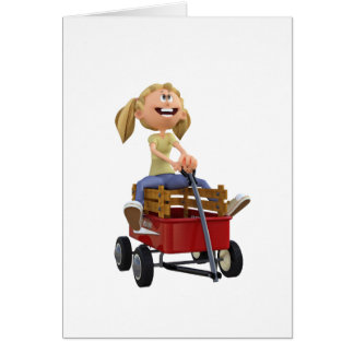 Cartoon Girl in Wagon Card